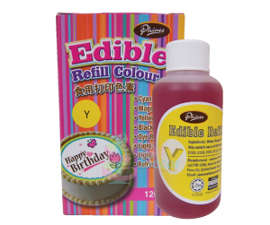 Edible Refill Color<br> Yellow <br> 18 Bottle/Carton